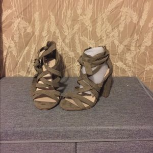 4 inch heel, Taupe thick strappy wrap sandals.